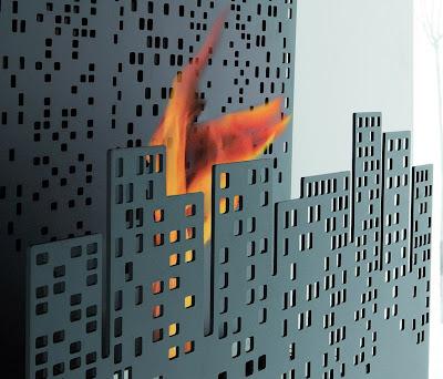 City on Fire wall-mounted fireplace