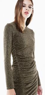 Vestido de fibra metalica con drapeado lateral juvenil para fiesta de noche 2017