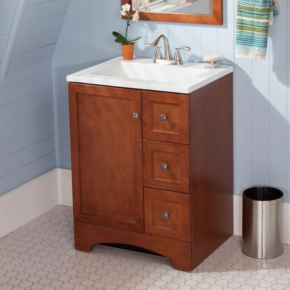 vanity in amber with alpine ab engineered composite vanity top in white with white basin
