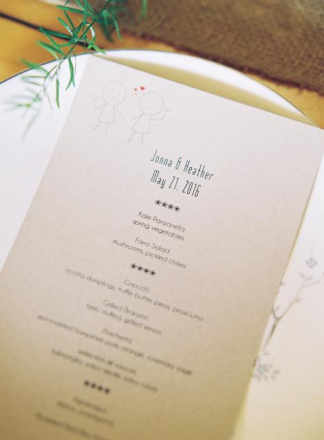Dinner Menu at Jonna and Heather's Inn at West Settlement Wedding by Karen Hill Photography