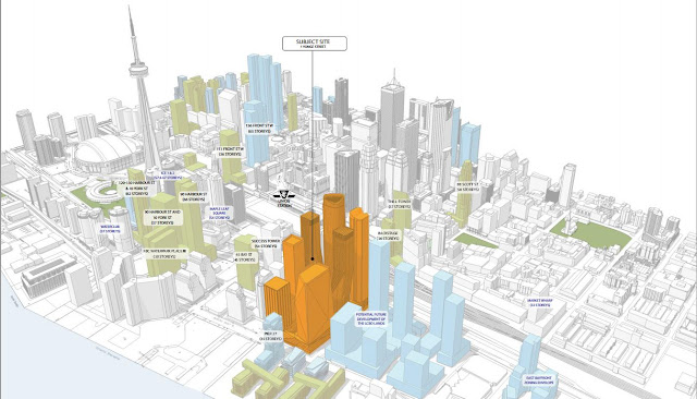 Drawing showing location of new One Yonge Skyscrapers