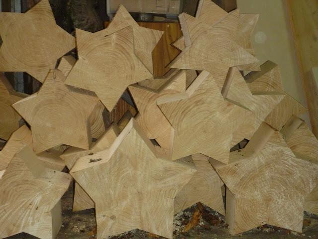 Adventsdeko, Advent, Sterne Holz, dicke Sterne