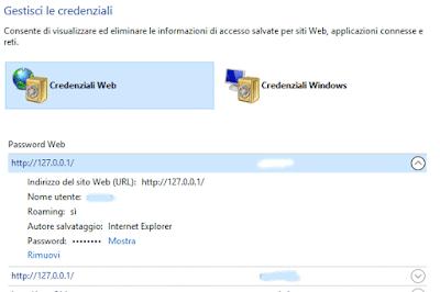 rimozione singola password explorer