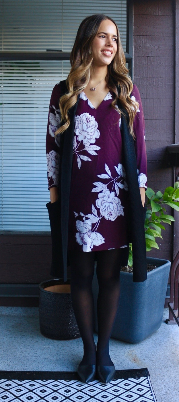 Jules in Flats - Burgundy Floral Shift Dress with Sweater Vest