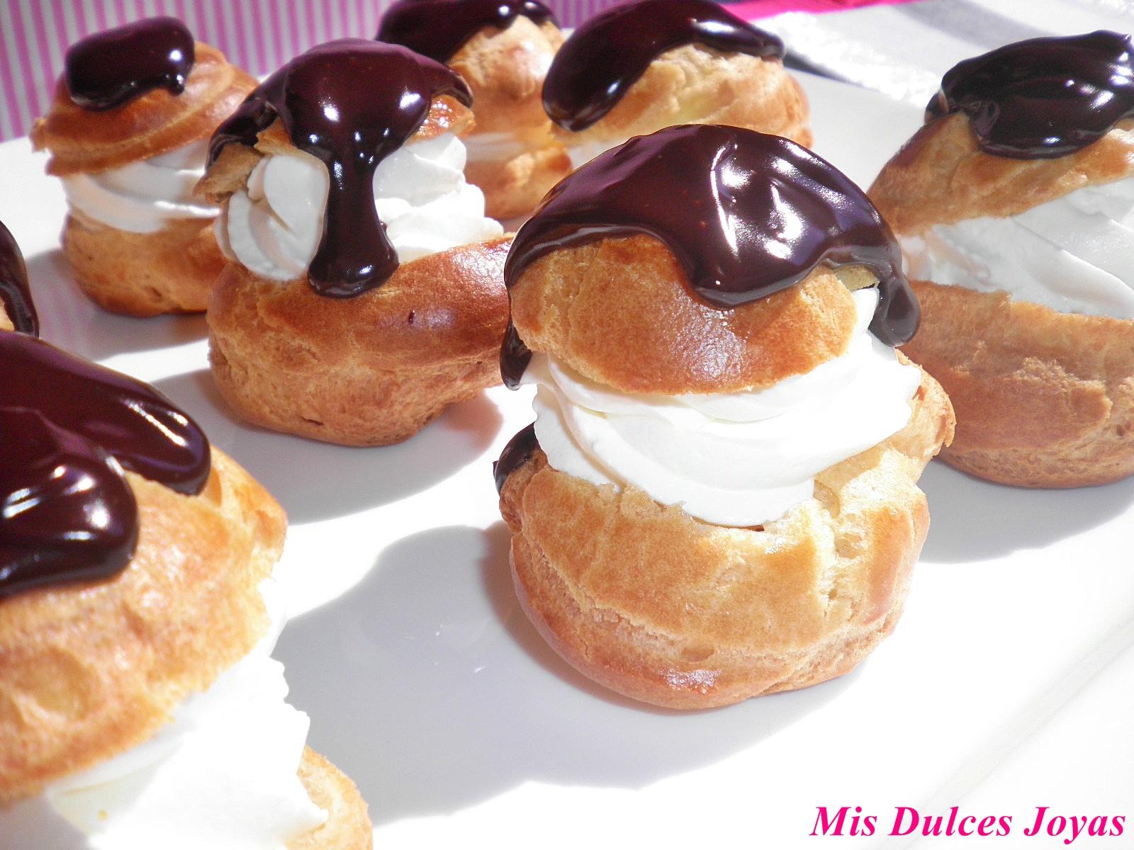 Profiteroles con nata y chocolate mis dulces joyas - Salsas para pasta con nata ...