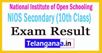 NIOS Secondary (10th Class)  Exam Result