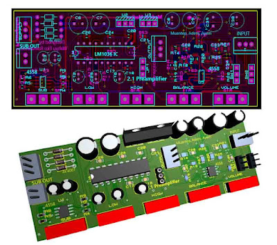 2.1 HiFi Preamplifier LM1036 + Subwoofer Filter 4558
