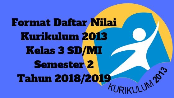 Format Daftar Nilai Kurikulum 2013 Kelas 3 SD/MI Semester 2 Tahun 2018/2019