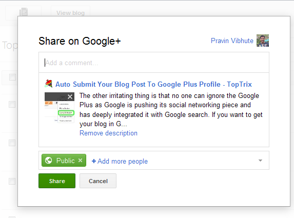 How To Auto Submit Your Blog Post To Google Plus Profile | TopTrix