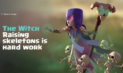 Rincian informasi strategi dan biaya upgrade Witch di COC