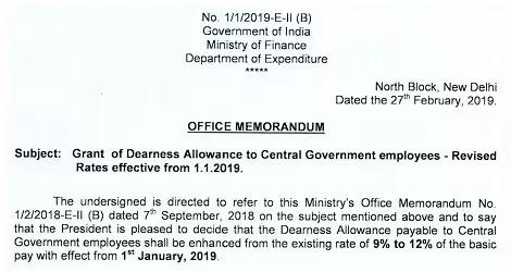dearness-allowance-from-jan-2019-deptt-of-expenditure-order