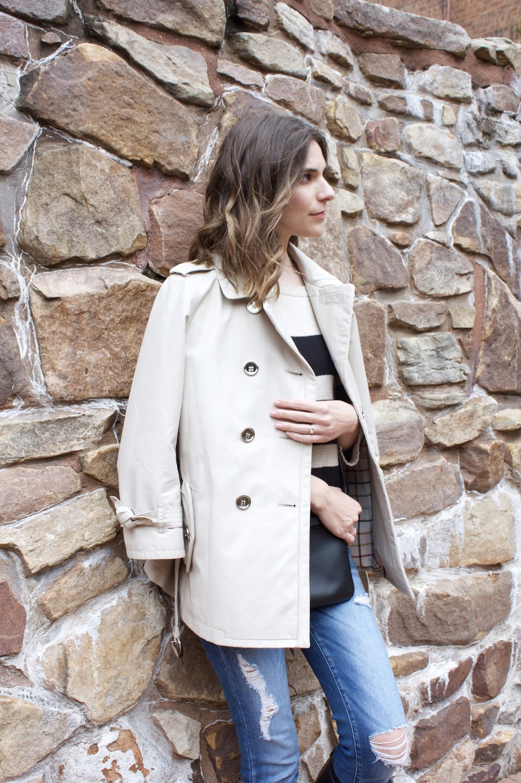 cream cropped Coach trench coat