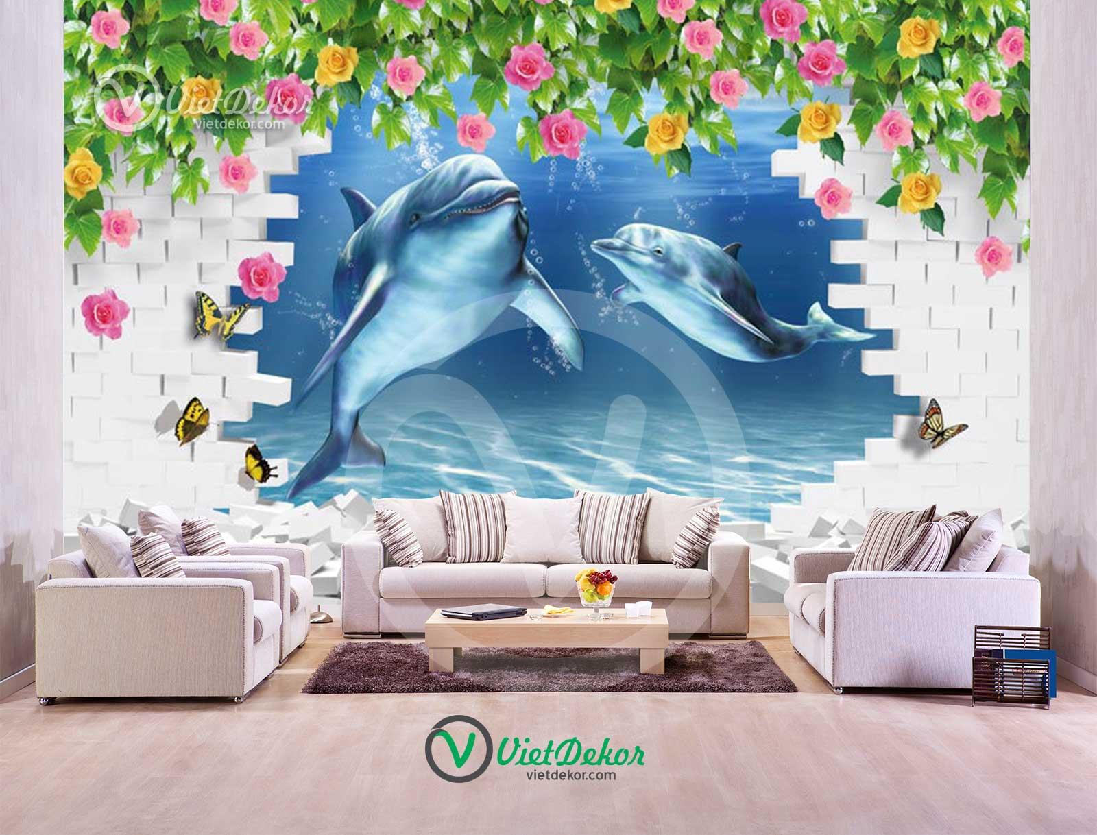 Tranh dán tường 3d cá mập hoa leo