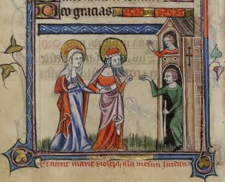 Joseph and Mary travelling to Bethlehem