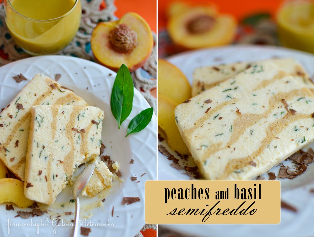 Peaches and basil semifreddo
