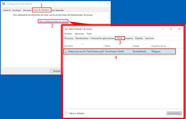 Ejemplo realizado con MSConfig de Microsoft Windows 10.