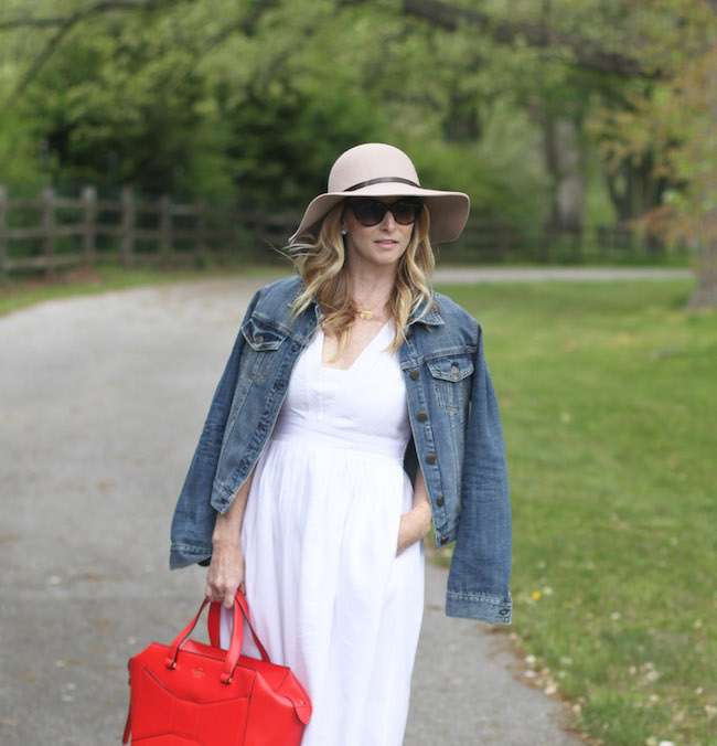 floppy hat, cat eye sunglasses, white summer dress, jcrew jean jacket