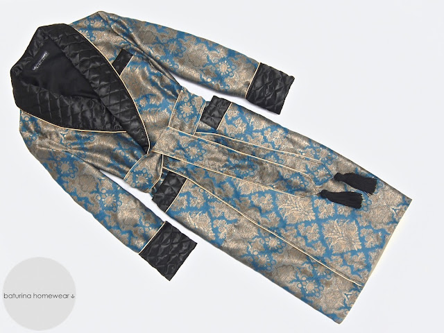 Mens long paisley dressing gown cotton luxury vintage quilted silk lounging robe