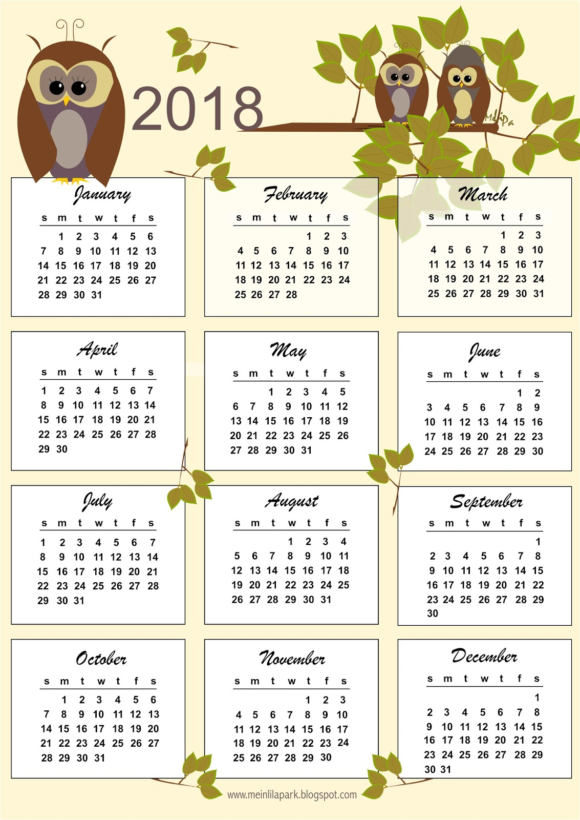 free printable 2018 owl calendar kalender freebie. Black Bedroom Furniture Sets. Home Design Ideas