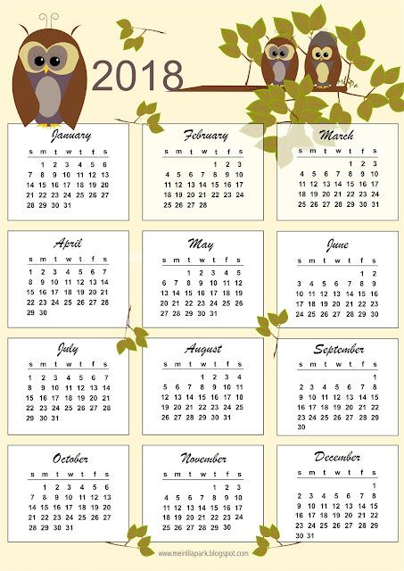 FREE printable 2018 owl calendar - Kalender - freebie