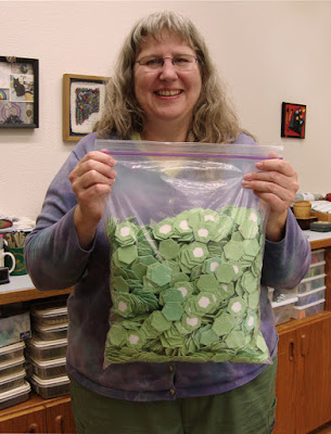 My friend, Christy, with her bag of hexies, is a great influence on me!
