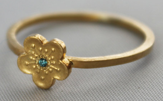 Custom yellow gold vermeil delicate cherry blossom sakura ring: $93