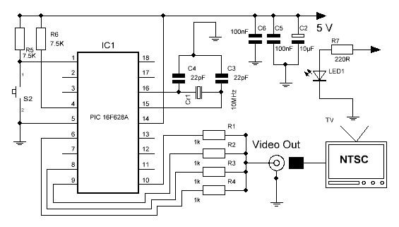 Generador de patrones NTSC esquema.