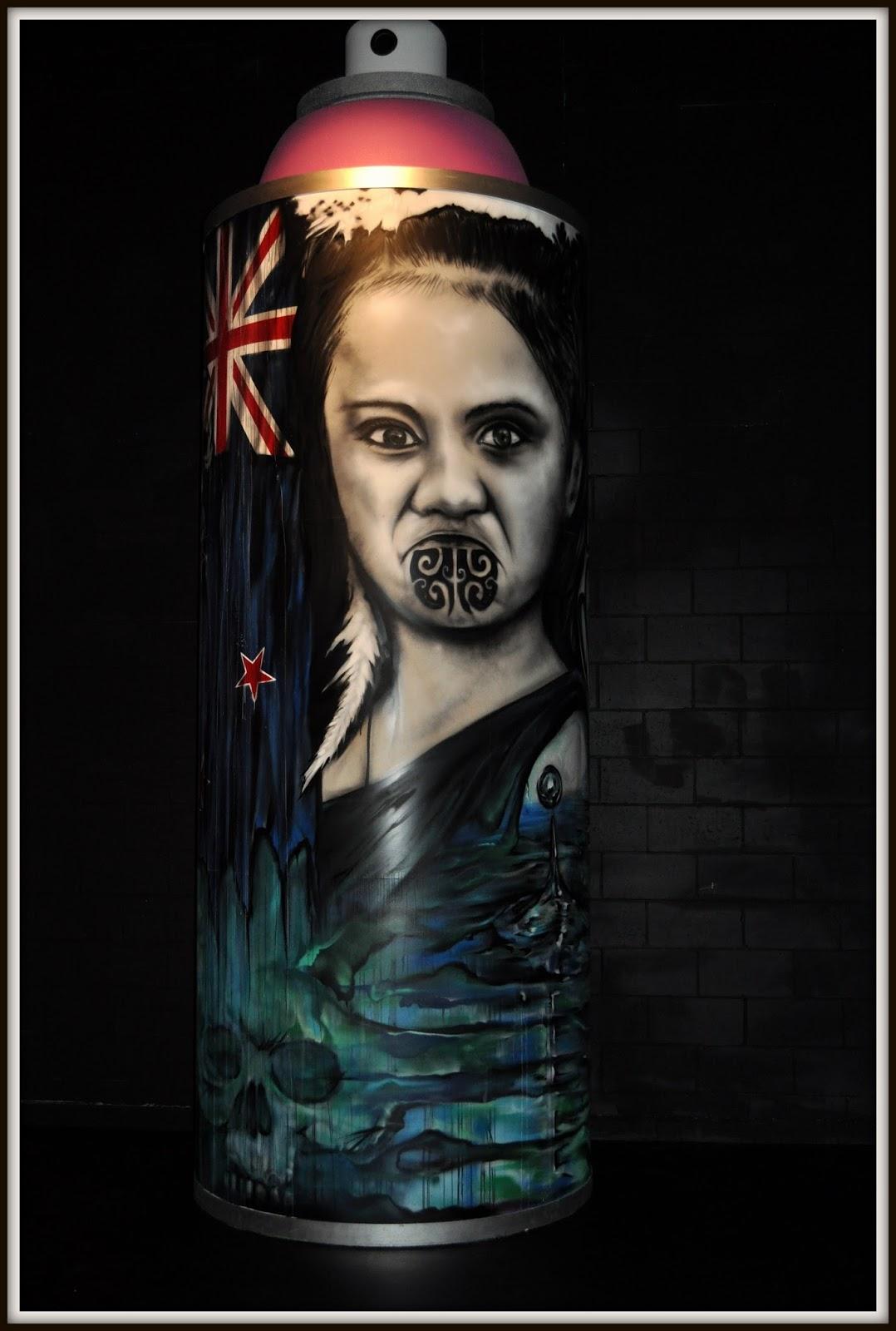 Female Ta Moko On Lips And Chin: DUTCHCORNER: Spectrum Street Art Festival