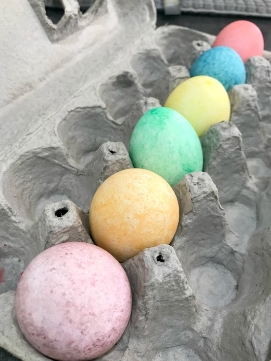 Make Speckled eggs with white rice baggies and food coloring in all colors