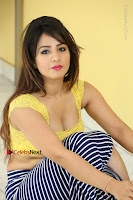 Cute Telugu Actress Shunaya Solanki High Definition Spicy Pos in Yellow Top and Skirt  0421.JPG
