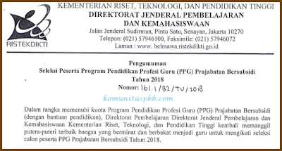 Seleksi PPG Prajabatan Bersubsidi Tahun 2018