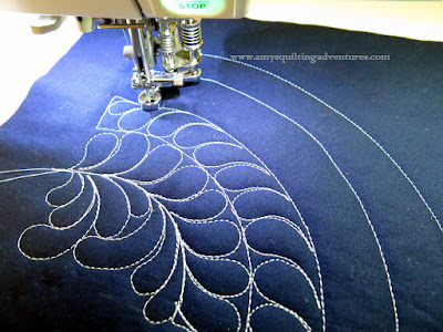 Free motion quilting practice feathers