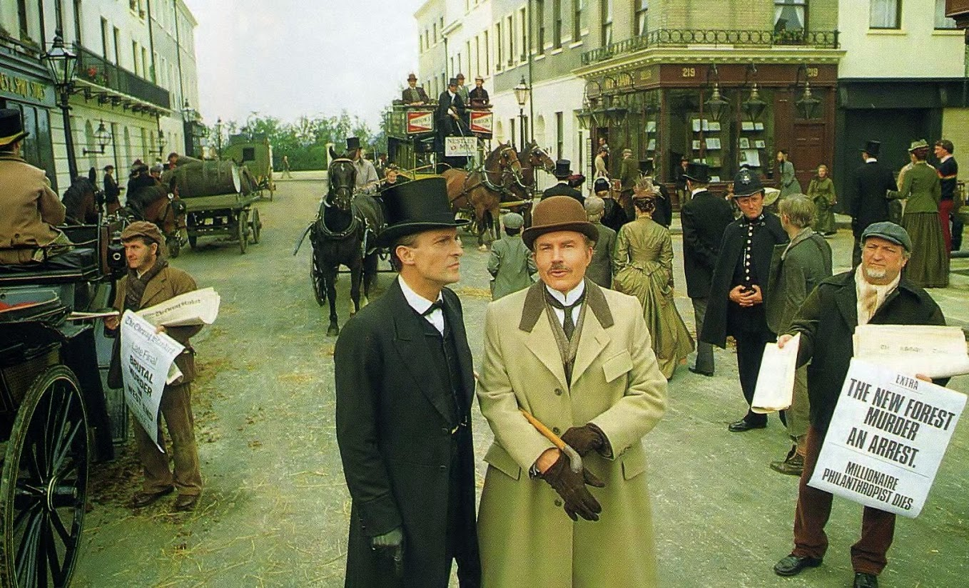A press still from Granada's The Adventures of Sherlock Holmes, starring Jeremy Brett and David Burke.