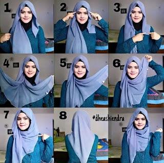 Cara memakai jilbab segi empat simple syar'i