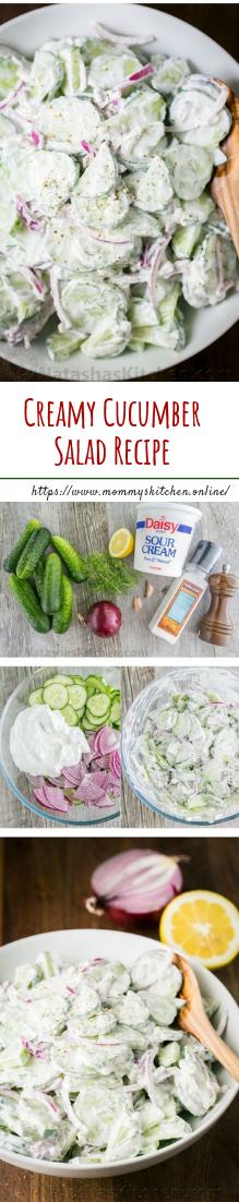 Creamy Cucumber Salad Recipe #saladrecipe #vegetarian