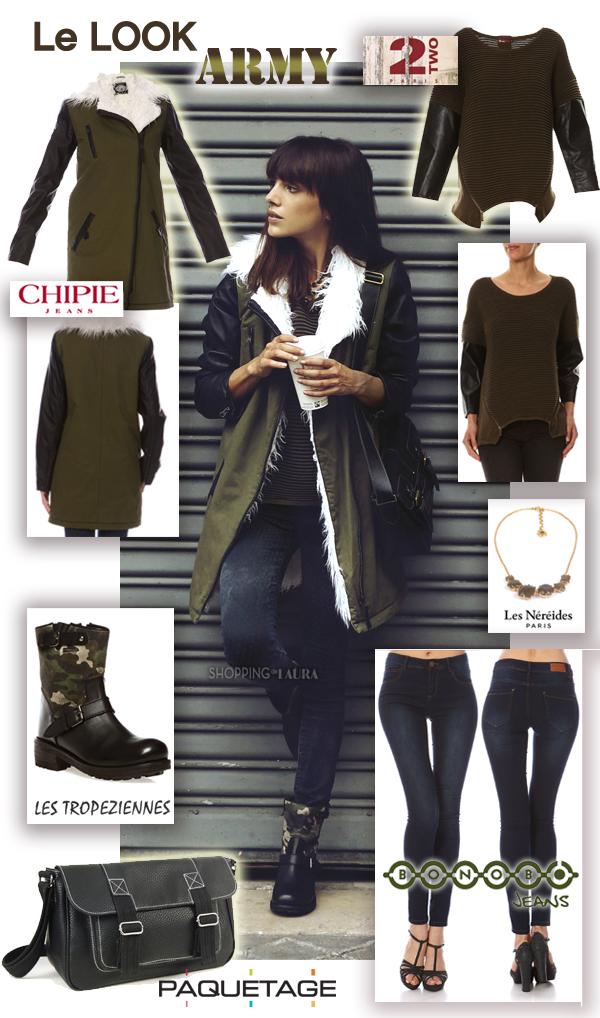 Mode femme en Look militaire avec pull 2TWO, parka CHIPIE, jean slim BONOBO, boots LES TROPEZIENNES et sac PAQUETAGE