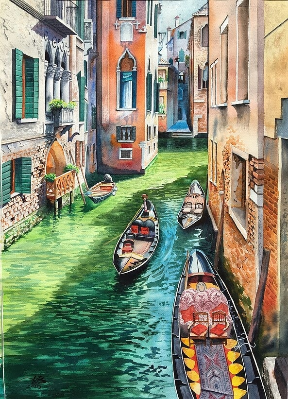 13-Venice-Igor-Dubovoy-A-Love-for-Travelling-and-Realistic-Watercolour-Paintings-www-designstack-co