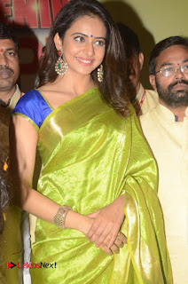 Actress Rakul Preet Singh Pictures in Green Saree at LPT Textile Market Launch  0026