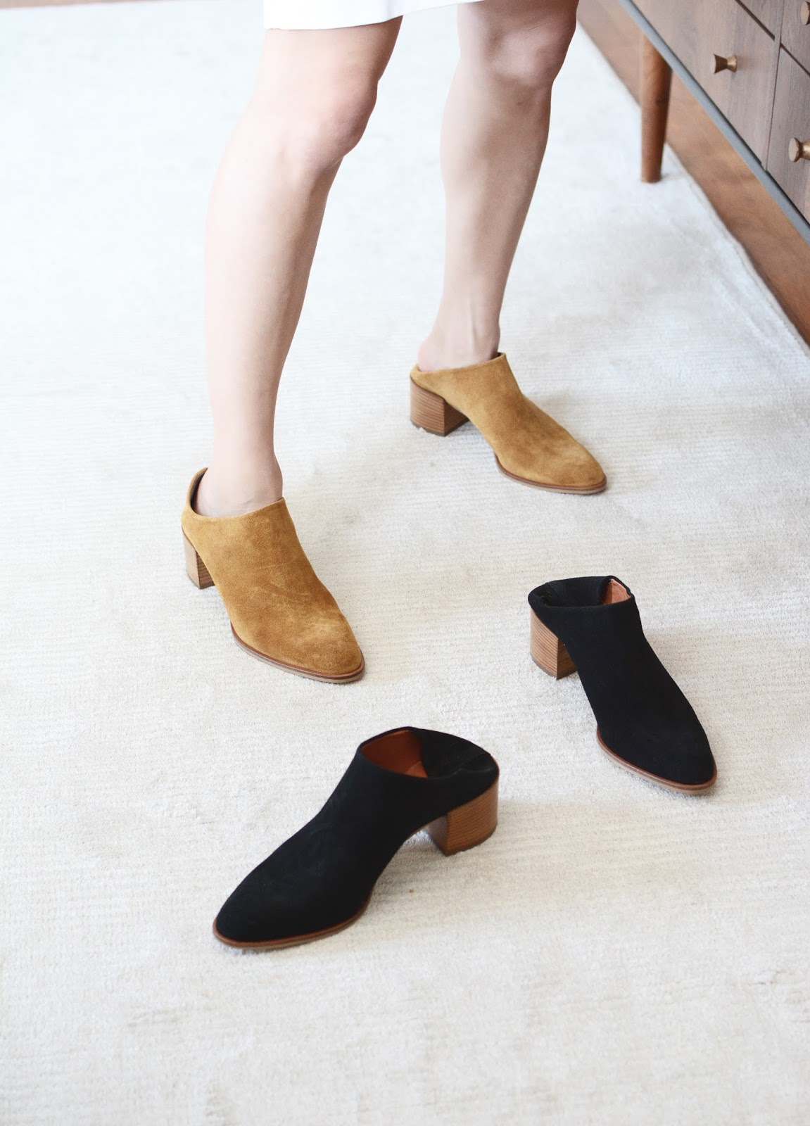 Everlane Suede Heel Mule Black Mustard Taupe Review Photos Comparison Heel Boot