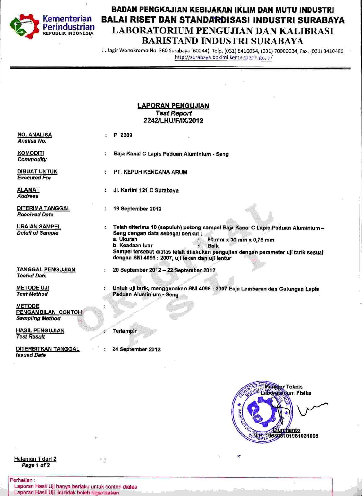 baja ringan kepuh kencana arum sertifikasi dan hasil uji laboratorium truss