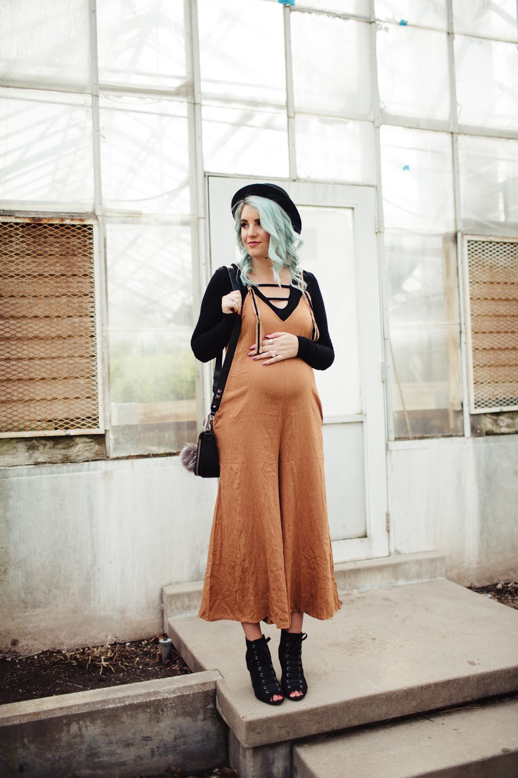 Maternity Jumpsuit, Pink Blush Maternity, Black Hat