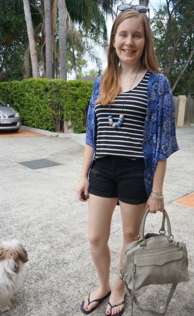 summer print mixing outfit navy kimono stripe tank black distressed denim shorts | away from blue