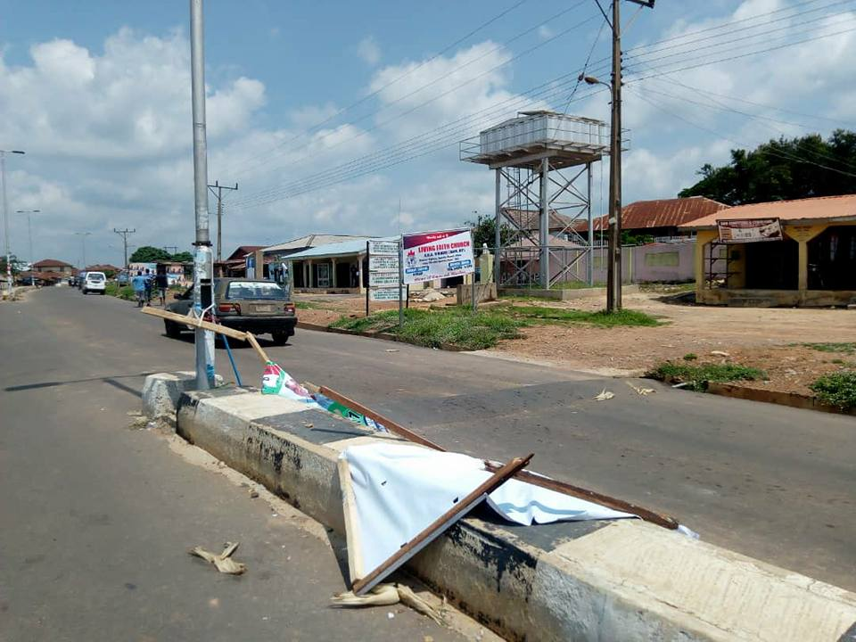 Ekiti Guber Election: Kayode Fayemi's thugs destroy PDP campaign billboards