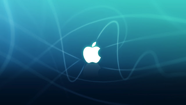 Blauwe Apple achtergrond met witte Apple logo