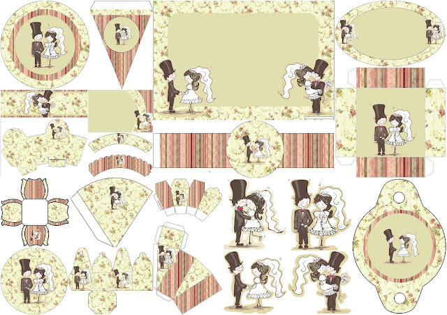 Wedding Toon Couple in Provencal Style: Free Printable Kit for Weddings.