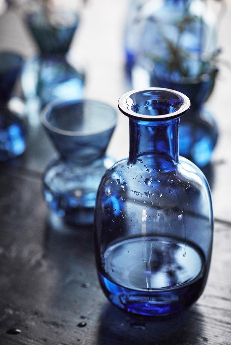Ikea stockholm jarron azul vidrio
