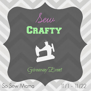 Enter to win the Sew Crafty Giveaway. Six prizes. Ends 11/22.