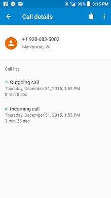 Cell phone screen grab showing call from sheriff's office