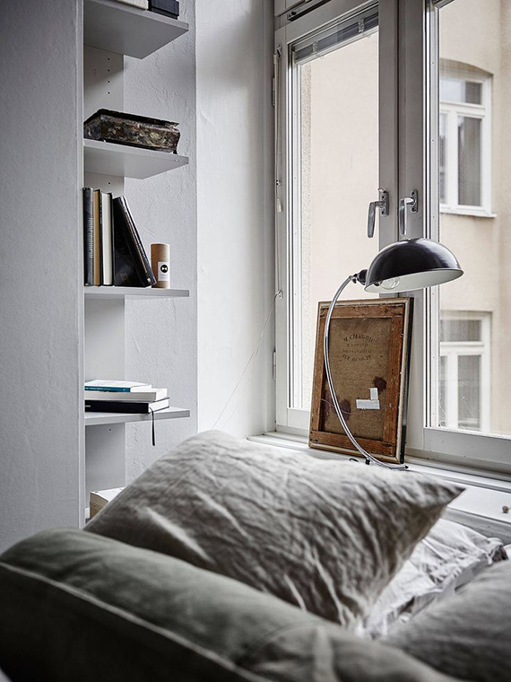 Scandinavian bedroom with grey linen bedding. Photo Jonas Berg, styling Emma Fisher via Stadshem