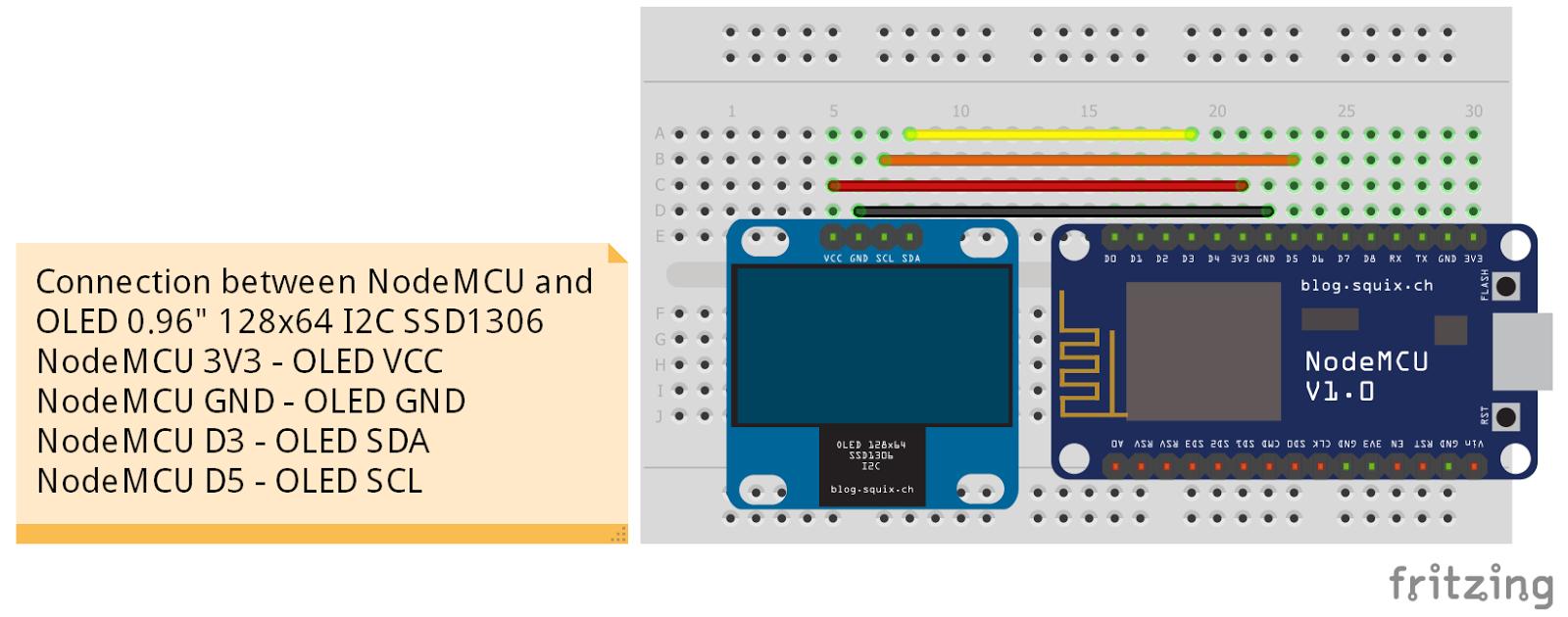 Arduino-er: NodeMCU/ESP8266 + OLED 0 96